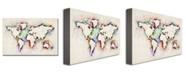 "Trademark Global Michael Tompsett 'World Map - Paint Splashes' Canvas Art - 47"" x 30"""