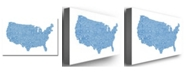 "Trademark Global Michael Tompsett 'US City Map XVI' Canvas Art - 47"" x 30"""