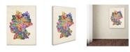 "Trademark Global Michael Tompsett 'Germany Region Text Map 2' Canvas Art - 32"" x 22"""