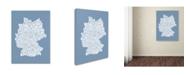 "Trademark Global Michael Tompsett 'STEEL-Germany Regions Map' Canvas Art - 47"" x 30"""