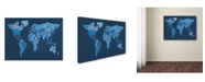 """Trademark Global Michael Tompsett 'World Text Map 2' Canvas Art - 32"""" x 22"""""""