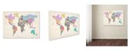 """Trademark Global Michael Tompsett 'World Text Map 5' Canvas Art - 47"""" x 30"""""""
