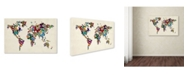 "Trademark Global Michael Tompsett 'Butterflies Map of the World II' Canvas Art - 32"" x 22"""
