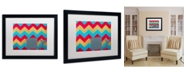 """Trademark Global Nicole Dietz 'Pink and Gold Whale Chevron' Matted Framed Art - 20"""" x 16"""""""