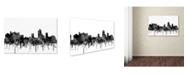 "Trademark Global Marlene Watson 'New Brunswick New Jersey Skyline BW' Canvas Art - 12"" x 19"""