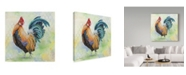 "Trademark Global Jean Plout 'Watercolor Rooster Curious' Canvas Art - 14"" x 14"""