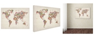 "Trademark Global Michael Tompsett 'Stars World Map 2' Canvas Art - 14"" x 19"""