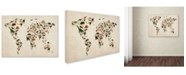 "Trademark Global Michael Tompsett 'Dinosaur World Map 2' Canvas Art - 14"" x 19"""