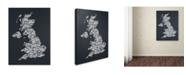 """Trademark Global Michael Tompsett 'UK Cities Text Map 4' Canvas Art - 14"""" x 19"""""""