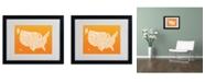 "Trademark Global Michael Tompsett 'ORANGE-USA States Text Map' Matted Framed Art - 20"" x 16"""