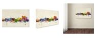 "Trademark Global Michael Tompsett 'Calcutta Watercolor Skyline' Canvas Art - 12"" x 19"""