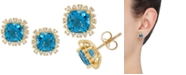 Macy's Swiss Blue Topaz (3-5/8 ct. t.w.) & White Topaz (1/4 ct. t.w.) Stud Earrings in 10k Gold