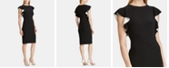 Lauren Ralph Lauren Contrast Flutter-Sleeve Jersey Dress