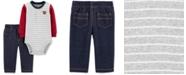 Carter's Baby Boys 2-Pc. Colorblocked Bodysuit & Denim-Look Pants Cotton Set
