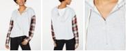 Rewash Juniors' Plaid-Sleeved Half-Zip Hoodie