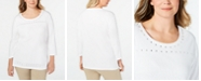 Karen Scott Plus Size Stud-Trim 3/4-Sleeve Top, Created for Macy's