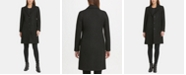 DKNY Petite Faux-Leather-Trim Coat, Created for Macys