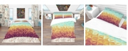 Design Art Designart 'Retro Hipsters Geometric Pattern' Vintage Duvet Cover Set - Twin