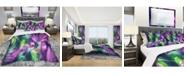 Design Art Designart 'Green And Purple Shine' Modern and Contemporary Duvet Cover Set - King