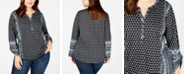 Style & Co Plus Size Printed Split-Neck Top, Created for Macy's