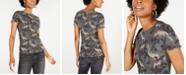 Freshman Juniors' Smocked Camo-Print Top