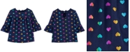Carter's Toddler Girls Cotton Bell Sleeve Heart-Print Top