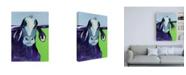 "Trademark Global Pat Saunders-White Bull Drool Blue Canvas Art - 19.5"" x 26"""