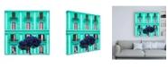"Trademark Global Philippe Hugonnard Dolce Vita Rome 3 Coral Green Building Facade Canvas Art - 19.5"" x 26"""