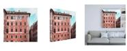 "Trademark Global Philippe Hugonnard Dolce Vita Rome 3 Coral Buildings Facade Canvas Art - 15.5"" x 21"""
