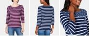 Karen Scott Sport Floral-Yoke Striped Top, Created for Macy's