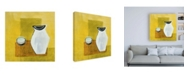 "Trademark Global Pablo Esteban Vase on Yellow Canvas Art - 36.5"" x 48"""