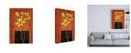 "Trademark Global Pablo Esteban Yellow Flowers and Black Square Canvas Art - 27"" x 33.5"""