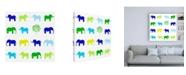 "Trademark Global Chariklia Zarris Animal Sudoku in Blue IV Childrens Art Canvas Art - 15.5"" x 21"""