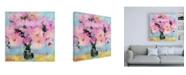 "Trademark Global Pamela Gaten Bright Pink Peony Canvas Art - 19.5"" x 26"""
