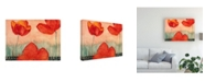 "Trademark Global Pablo Esteban Watercolor Red Flowers 1 Canvas Art - 19.5"" x 26"""
