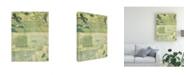 "Trademark Global Pablo Esteban White Flowers Watercolor Green Canvas Art - 19.5"" x 26"""