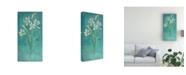 "Trademark Global Pablo Esteban White Flowers Over Blue 2 Canvas Art - 15.5"" x 21"""
