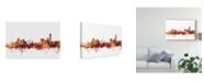 """Trademark Global Michael Tompsett Manchester England Skyline Red II Canvas Art - 15"""" x 20"""""""