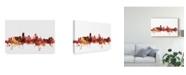 "Trademark Global Michael Tompsett Miami Florida Skyline Red Canvas Art - 20"" x 25"""
