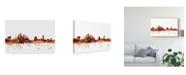 "Trademark Global Michael Tompsett Tampa Florida Skyline Red Canvas Art - 20"" x 25"""