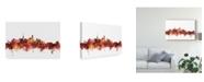 "Trademark Global Michael Tompsett Beijing China Skyline Red Canvas Art - 37"" x 49"""