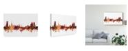 "Trademark Global Michael Tompsett Halmstad Sweden Skyline Red Canvas Art - 37"" x 49"""