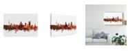 "Trademark Global Michael Tompsett Leipzig Germany Skyline Red Canvas Art - 20"" x 25"""