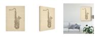 "Trademark Global Michael Tompsett Saxophone Old Sheet Music Canvas Art - 37"" x 49"""