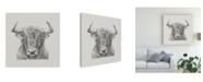 "Trademark Global Ethan Harper Black and White Bull Canvas Art - 27"" x 33"""