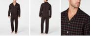 Club Room Men's Black Plaid Flannel Pajamas, Created for Macy's