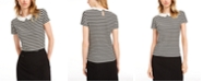 Maison Jules Striped Peter Pan-Collar Top, Created for Macy's