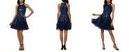 XSCAPE Sequined Lace Fit & Flare Dress