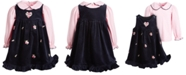 Good Lad Little Girls Collared Top & Embroidered Corduroy Jumper Set