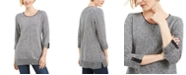 Karen Scott Cotton Marled Roll-Tab Sweater, Created for Macy's